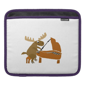 Funny Moose Playing the Piano Sleeves For iPads