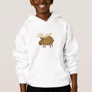 Funny Moose / Reindeer on White Hoodie
