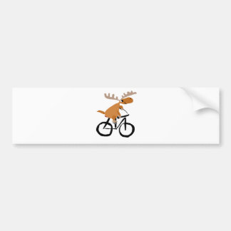 Funny Moose Riding Bicycle original art Bumper Sticker