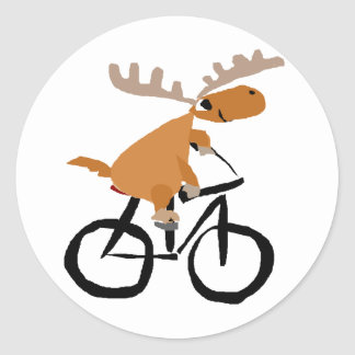 Funny Moose Riding Bicycle original art Classic Round Sticker