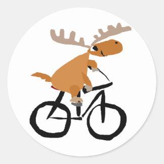 Funny Moose Riding Bicycle original art Classic Round Sticker