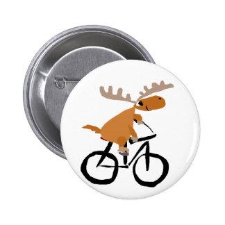 Funny Moose Riding Bicycle original art Pinback Button