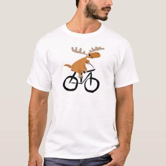 Funny Moose Riding Bicycle original art T-Shirt