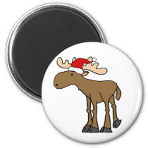 Funny Moose wearing Santa Hat Christmas Cartoon Magnet