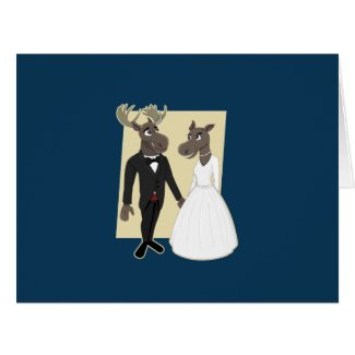 Funny Moose Wedding Cartoon Card