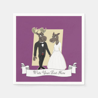 Funny Moose Wedding Cartoon Paper Napkin