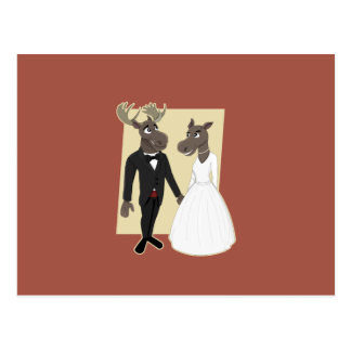 Funny Moose Wedding Cartoon Postcard