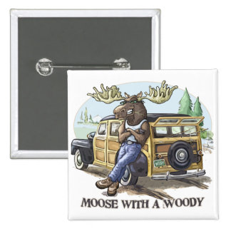 Funny Moose with a Woody by Mudge Studios Buttons