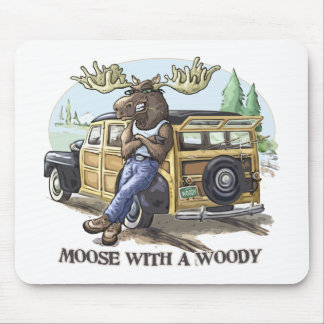 Funny Moose with a Woody by Mudge Studios Mouse Pad