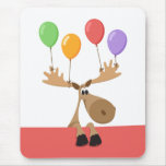 Funny moose with colorful balloons vertical mouse pad