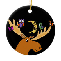 Funny Moose with Friends Art Ceramic Ornament