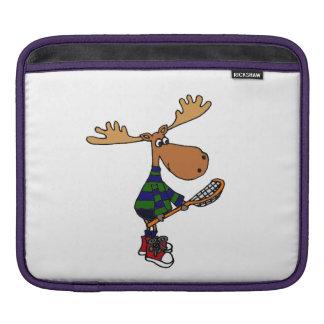 Funny Moose with Lacrosse Stick Art iPad Sleeve