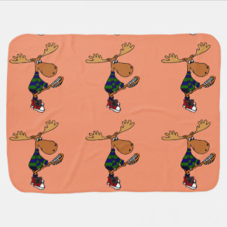 Funny Moose with Lacrosse Stick Art Swaddle Blanket