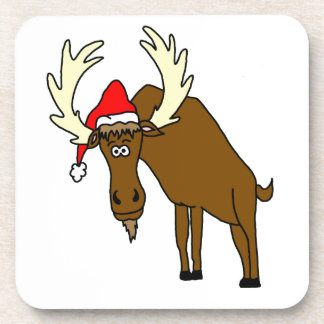 Funny Moose With Santa Hat Coaster