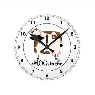 funny MOOstache mustache cow Round Clock