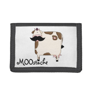 funny MOOstache mustache cow Trifold Wallets