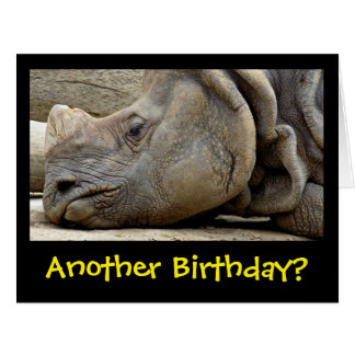 Funny Mopey Faced Rhino Getting Old Birthday Card