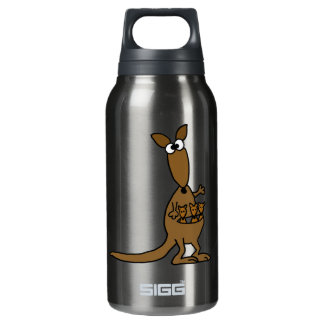 Funny Mother Kangaroo and Three Babies Insulated Water Bottle
