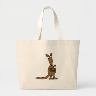 Funny Mother Kangaroo and Three Babies Tote Bags