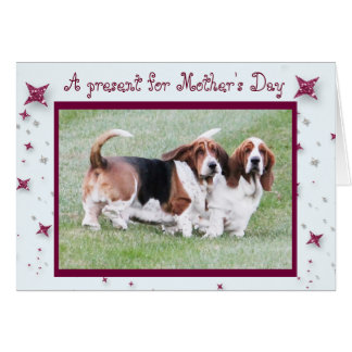 "Funny ""Mother's Day"" Card w/Basset Hounds & Stars"