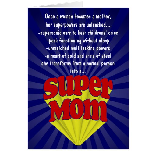 Funny Mother's Day Cards, Super Mom Greeting Card