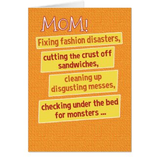 Funny Mother's Day List Card