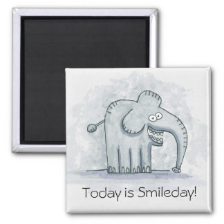 Funny motivational elephant Today is Smileday 2 Inch Square Magnet