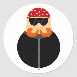 Funny Motorcycle Biker Classic Round Sticker