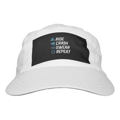 funny mountain bike ride crash swear repeat hat