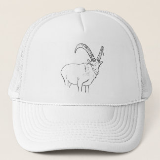 Funny Mountain Goat Line Drawing Animal Art Design Trucker Hat