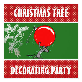 Funny Mouse Christmas Tree Decorating Party Card