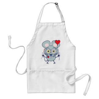 Funny mouse holding a balloon and feeling in love adult apron