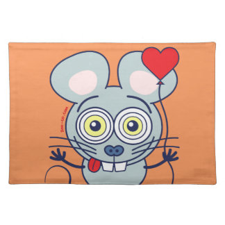 Funny mouse holding a balloon and feeling in love cloth placemat