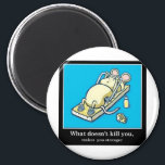 """Funny Mouse Product Magnet<br><div class=""""desc"""">Cute Mouse doing a push up on a mouse trap</div>"""