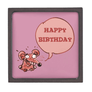 funny mouse say happy birthday jewelry box