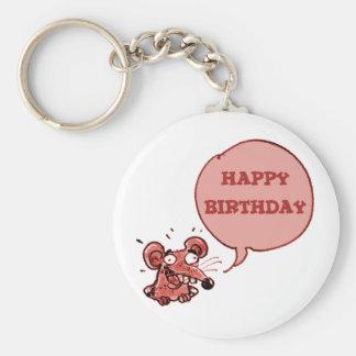 funny mouse say happy birthday keychain