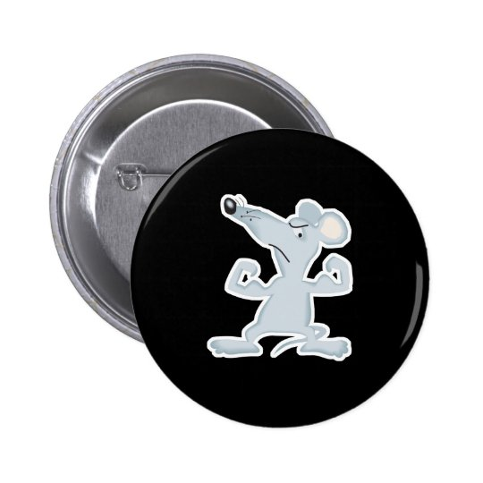 funny mouse with muscles pinback button