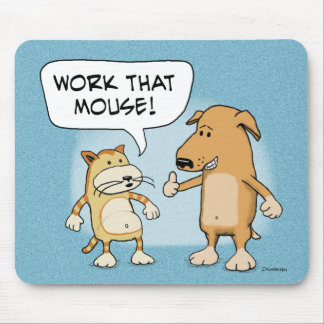 Funny mousepad: Cartoon Cat and Dog Mouse Pad