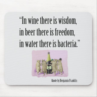 Funny Mousepad - Franklin, Wine, Beer and Pigs