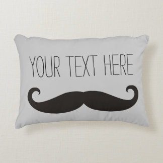 Funny Moustache / Schnurrbart + your text Decorative Pillow