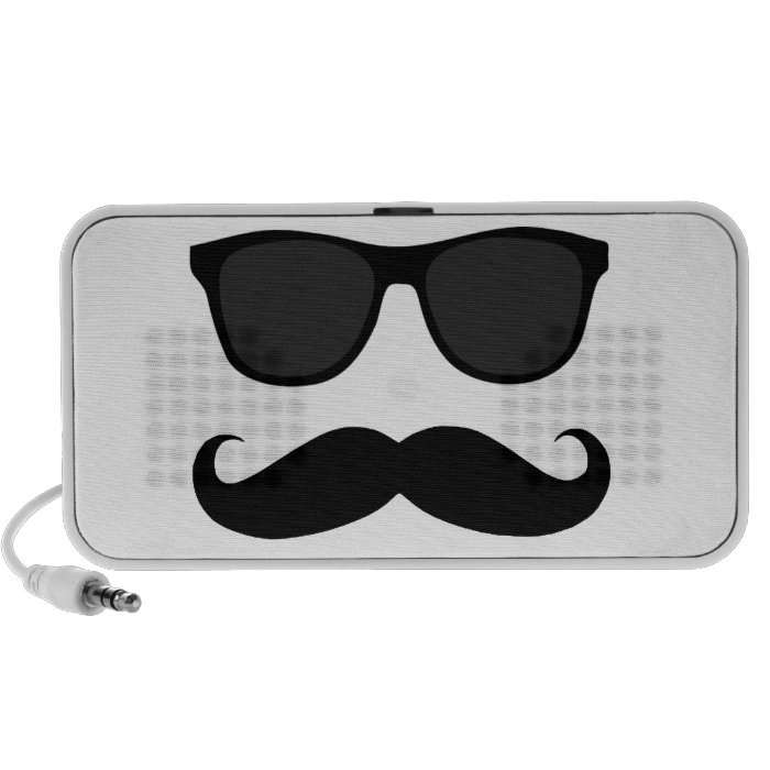 Funny Moustache Sunglasses Doodle Speakers