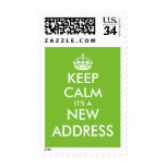 Funny moving postage stamps for new home address