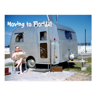 Funny Moving to Florida trailer change of address Postcard