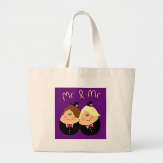 Funny Mr and Mr wedding design for Gay Men - eggs Large Tote Bag