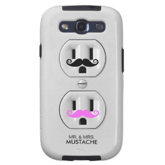 Funny Mr. and Mrs. Mustache Electrical Outlet Samsung Galaxy SIII Cases