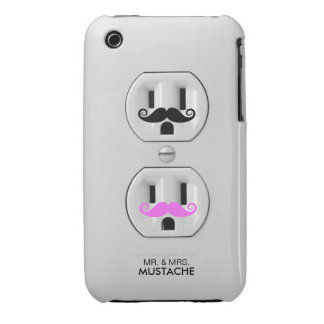 Funny Mr and Mrs Mustache Electrical Outlet Case-Mate iPhone 3 Case