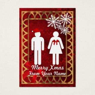 Funny Mr & Mrs  Santa personalized Christmas tag