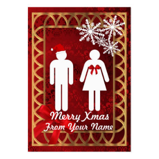 Funny Mr & Mrs  Santa personalized Christmas tag Large Business Card