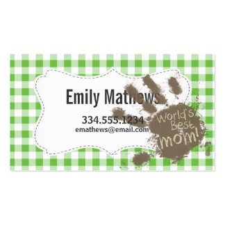 Funny Muddy hand print Green Checkered; Gingham Business Cards
