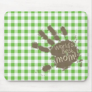 Funny Muddy hand print Green Checkered; Gingham Mouse Pad